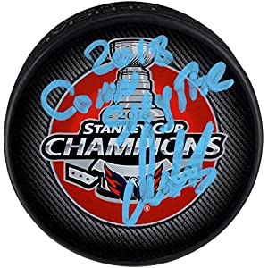 Alex Ovechkin Washington Capitals 2018 Stanley Cup Champions Autographed Stanley Cup Champions Logo Hockey Puck with 2018 Conn Smythe Inscription Fanatics Authentic Certified