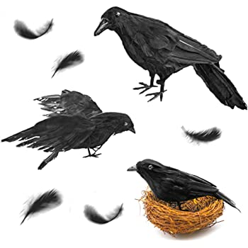 futureplusx realistic handmade crow 3pcs artificial halloween feathered black crows fly black birds halloween prop dcor for outdoors indoors decoration