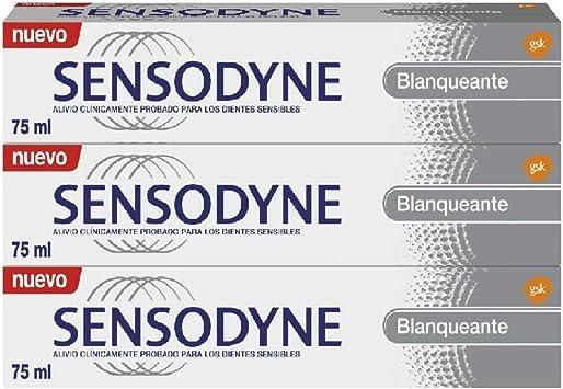 Sensodyne Pasta de Dientes Blanqueante con Flúor para Dientes Sensibles - pack de 3 x 75 ml: Amazon.es: Salud y cuidado personal