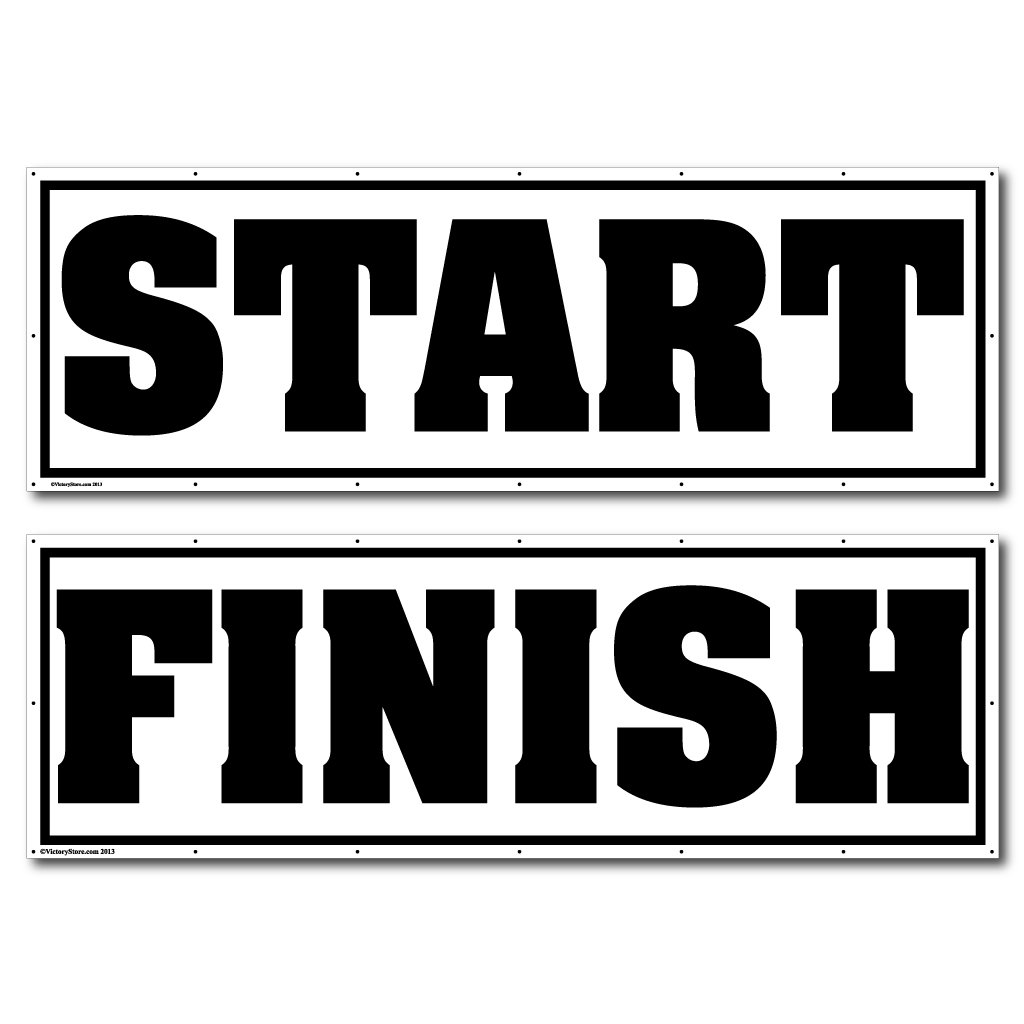 VictoryStore Race Banner - 4' x 12' Start and Finish Banner Set of 2, with Grommets for Hanging