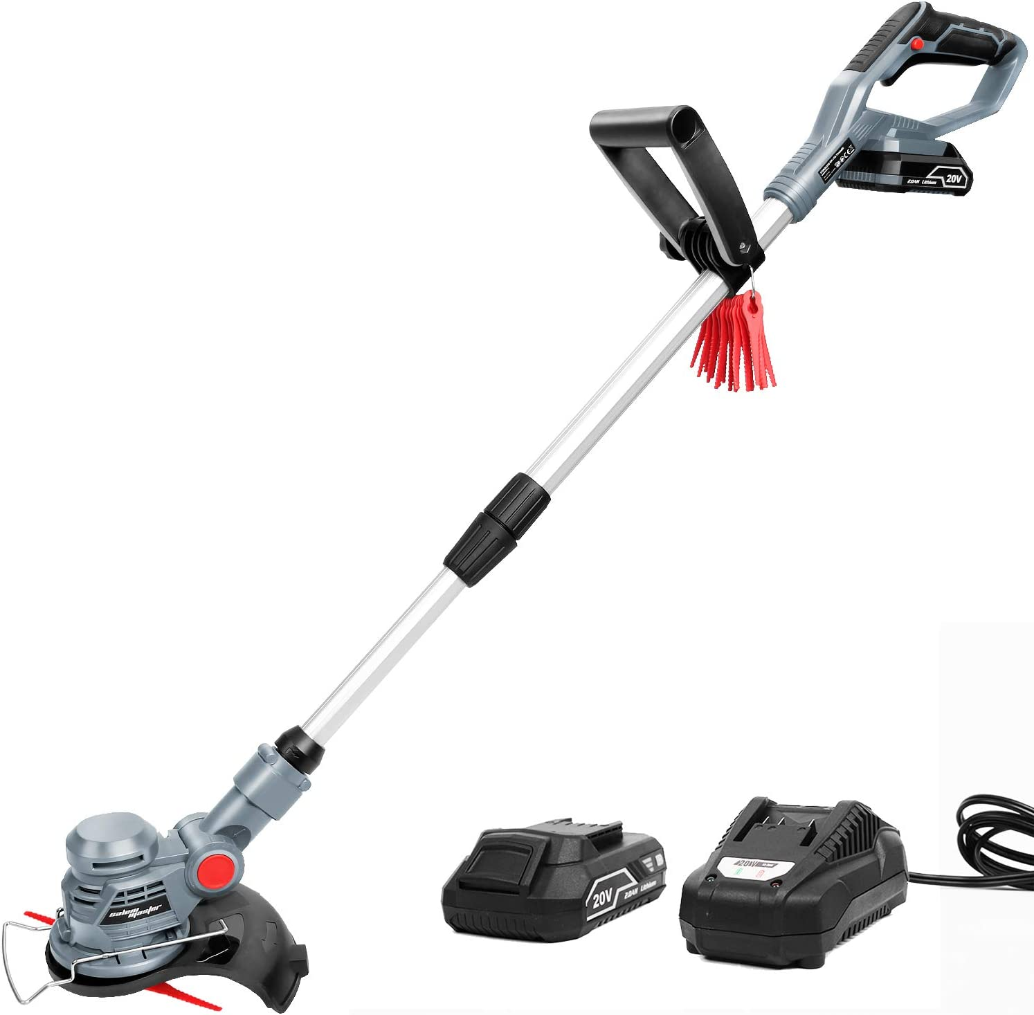 SALEM MASTER Cordless Stringless Trimmer with Blade Weed Eater Powered with Lithium-Ion Battery and Charger