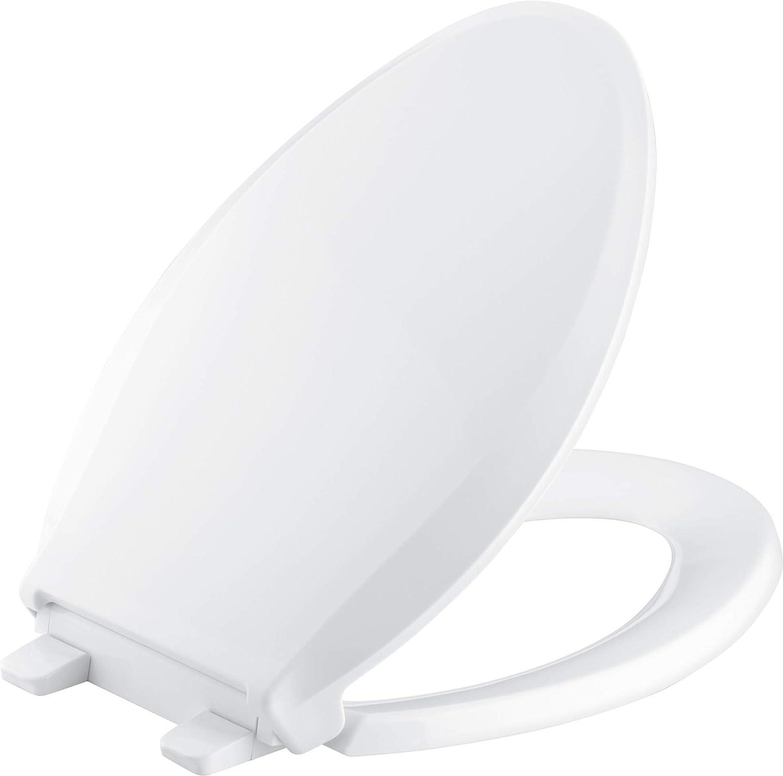 KOHLER K 4636 0 Cachet Elongated White Toilet Seat, with Grip