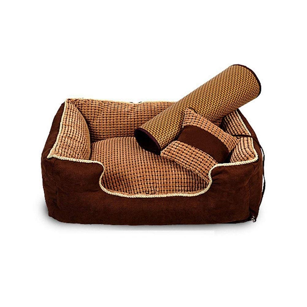 Brown S (60x51x24CM ) Brown S (60x51x24CM ) ZWYGXL Kennel Summer golden Retriever Dog Teddy Dog Medium-Sized Dog Large Small Dog Not Easy to Dirty Washable Pet Dog Bed Supplies Four Seasons Suitable (color   Brown, Size   S (60x51x24CM))