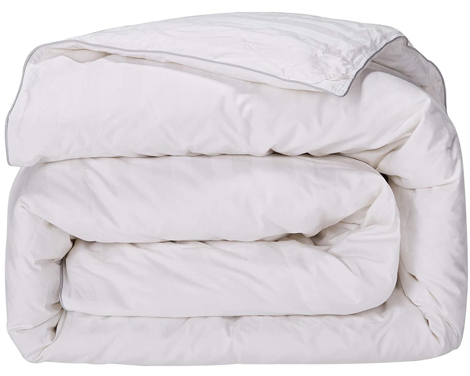 puredown All Season Down Comforter Stripe White 100% Cotton Shell 500 Thread Count 800 Fill Power Twin/Twin XL-Large PD-DC15004-T