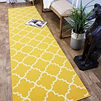 CUSTOM CUT 22-inch Wide by 12-feet Long Runner, Yellow Moroccan Trellis Non Slip, Non-Skid, Rubber Backed Stair, Hallway, Kitchen, Carpet Runner Rug - Choose your Width by Length