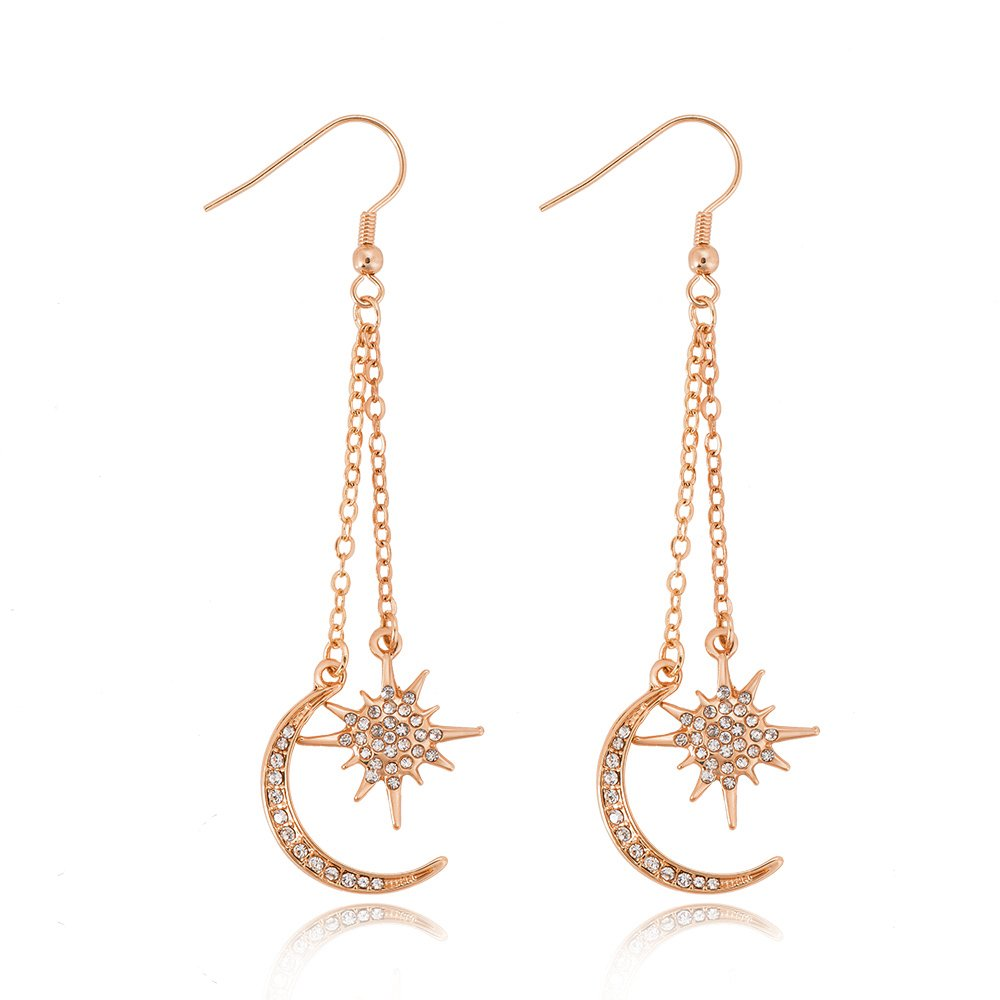 BEICHUANG Crystal Sun with Moon Elegant Planet Long Chain Drop Earring for Women Girls (rose gold)