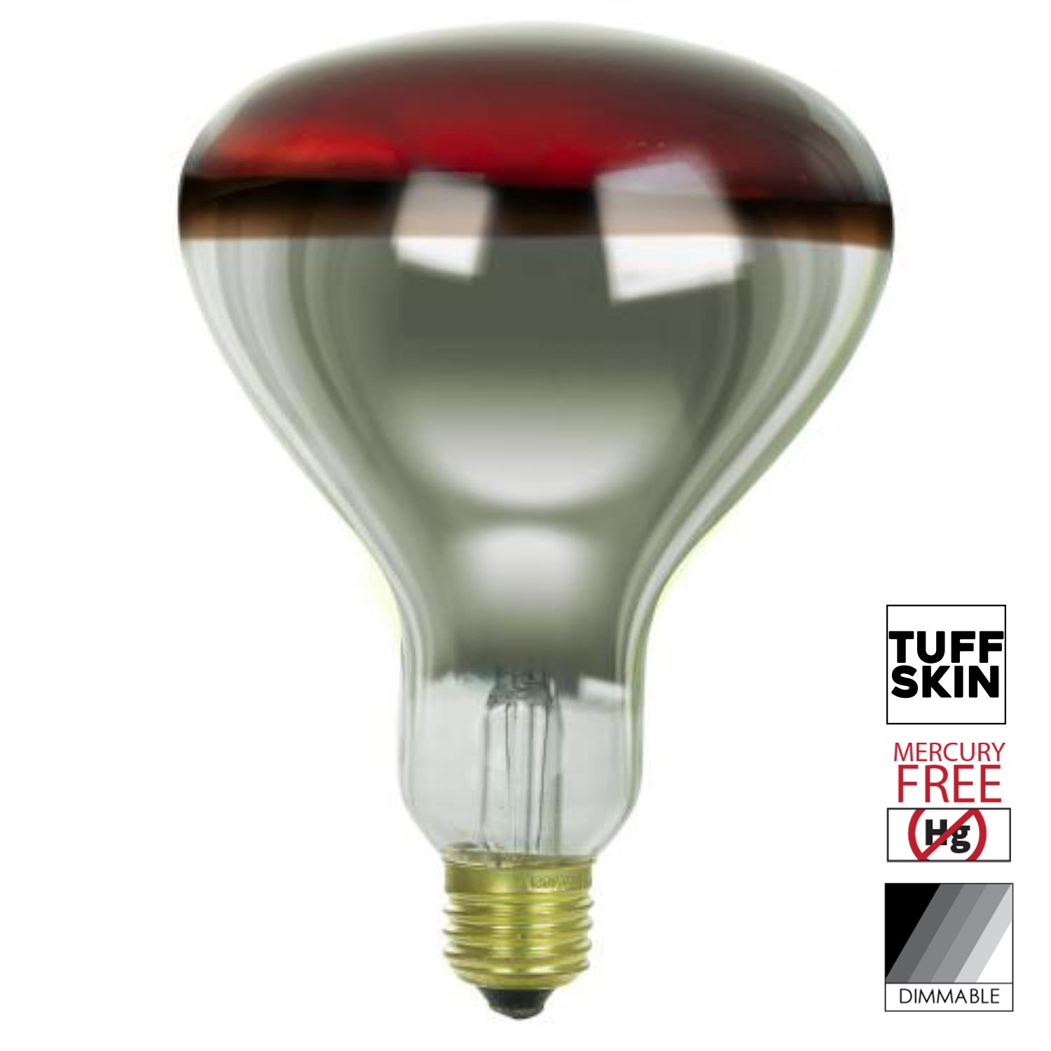 Sunlite 250 Watt R40 Incandescent Heat Lamp Bulb, Medium Base, Red, Dimmable, with Tuff Skin Shatter Resistant Coating