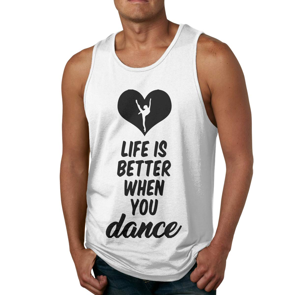 Men Sleeveless T Shirts Loose Life is Better When You Dance 100/% Cotton Blouse