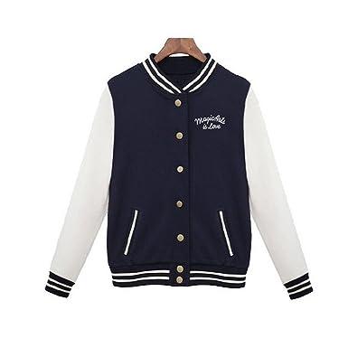 Feilongzaitianba Splice Sleeves Baseball Jacket Casacos Femininos College Jacketswomen Bomper Jacket Coats Navy Blue S
