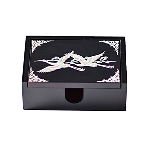 Amazon palbock mother of pearl handcrafted business card box palbock mother of pearl handcrafted business card box wooden trinket box black cranes reheart Images