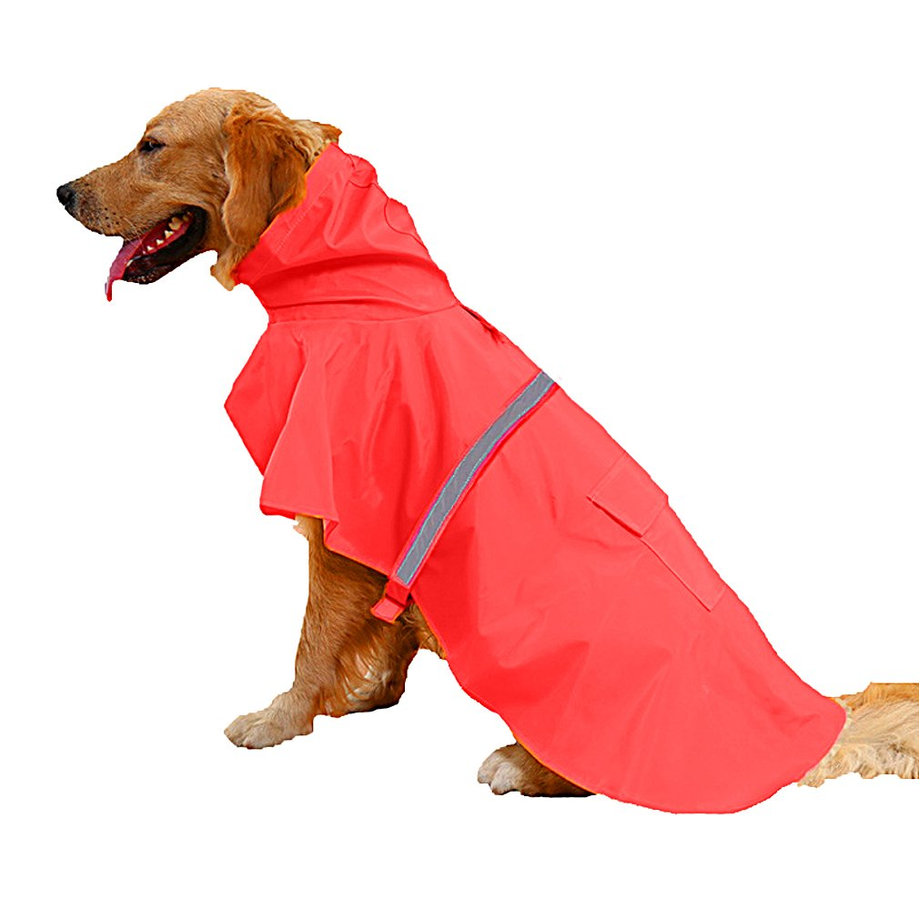 OpetHome Waterproof Clothes Lightweight Rain JacketReflective RainCoat with Hood Red XXL