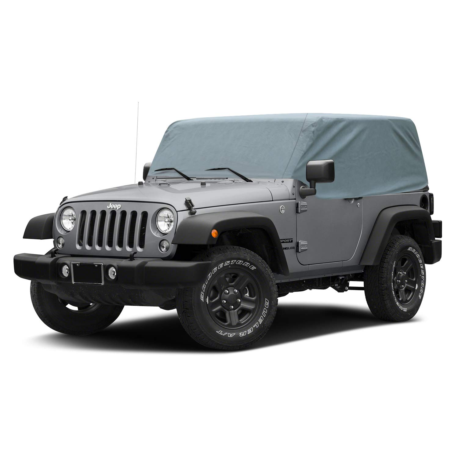Over Installed Top OOFIT Waterproof 5-Ply Durable Cab Cover Custom Fit 2007-2018 Jeep Wrangler Unlimited 4-Door Dustproof Car Cover Windproof Dust Proof Scratch Proof /& Adhesive Repair Patch