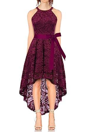 6d606a47d62 KT-SUPPLY Vokuhila Kleid Cocktail Spitzenkleid Halter Sexy Schulterfrei  Ballkleid  Amazon.de  Bekleidung