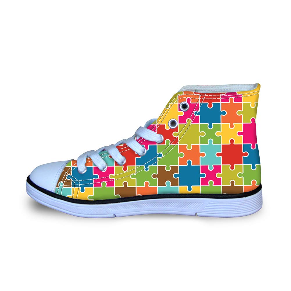 Canvas High Top Sneaker Casual Skate Shoe Boys Girls Autism Awareness Happy Square Puzzle