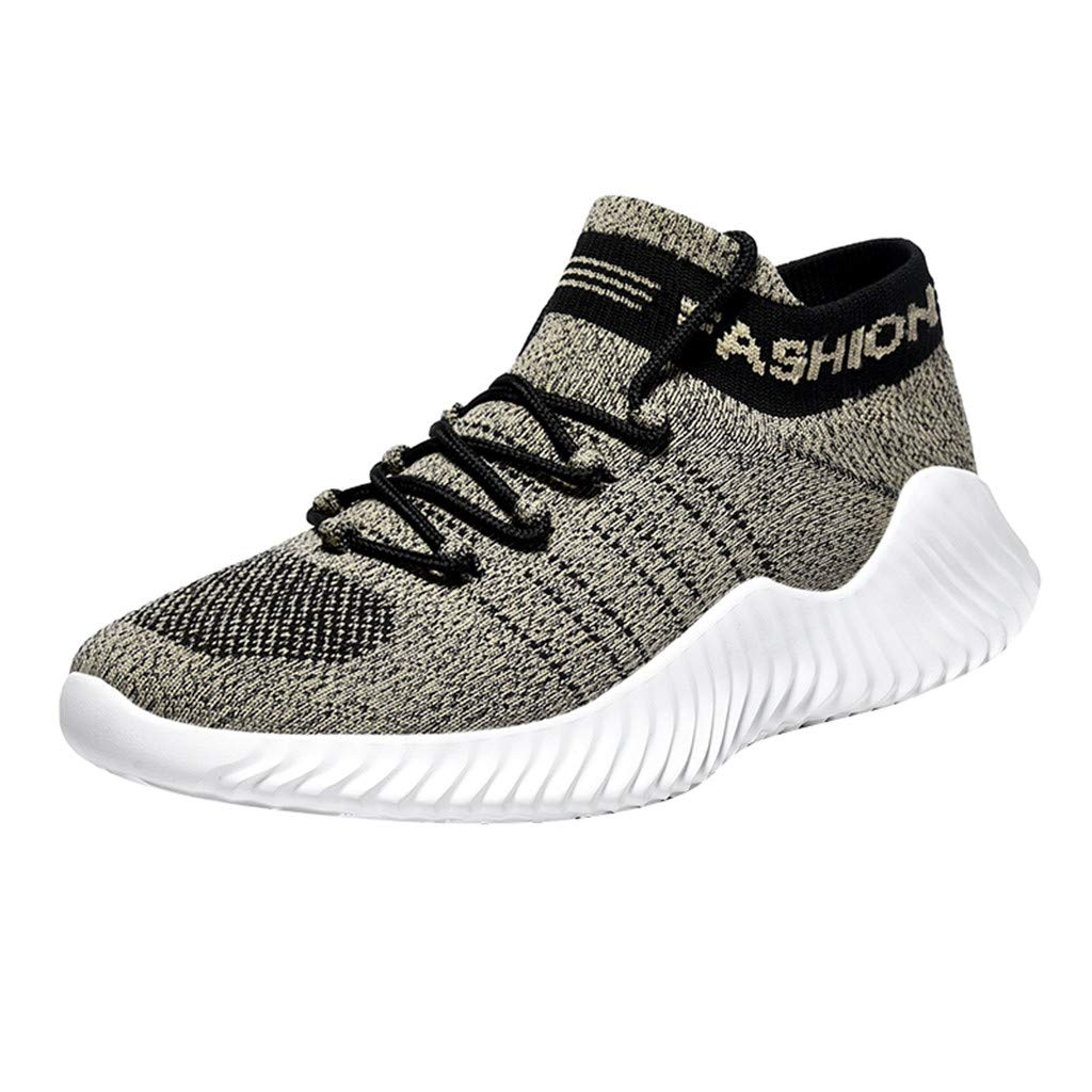 Men's Fashion Walking Sneakers, Uscahrm Casual Athletic Running Tennis Sock Gym Shoes Fly Knit Breathable Flats(Khaki,9.5) by Uscharm
