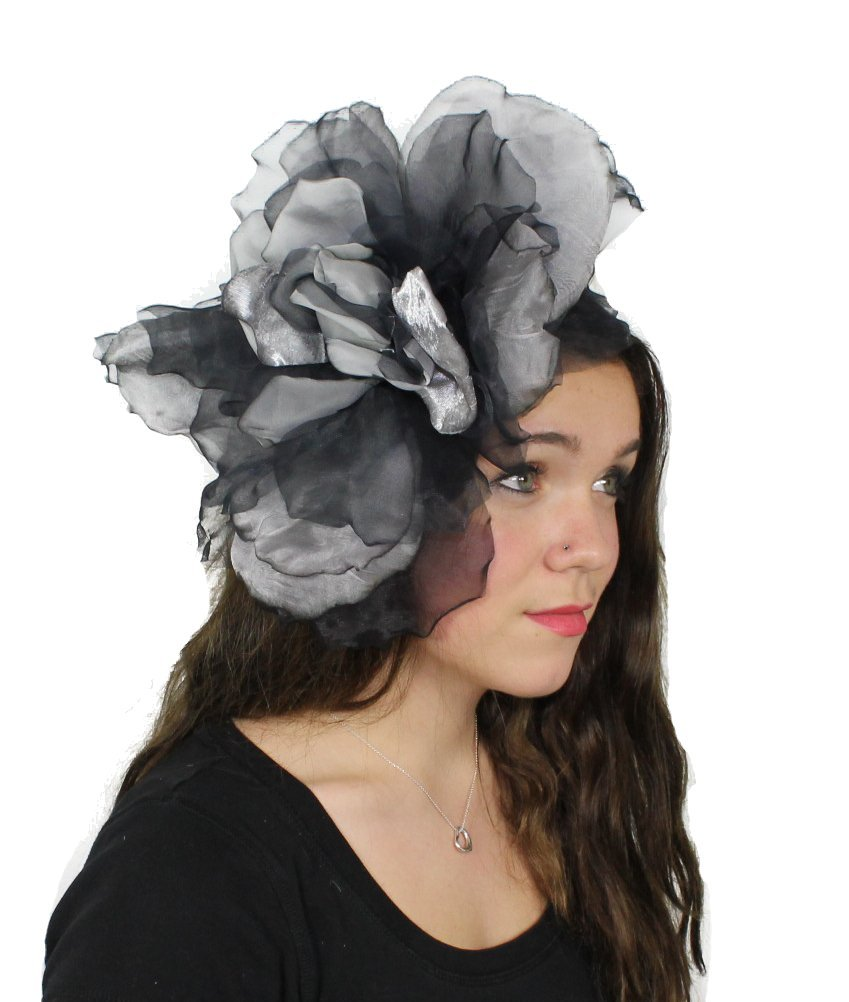 Hats By Cressida Grey and Black Silk Flower Kentucky Derby Fascinator Hat With Headband