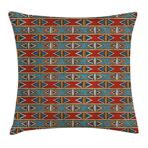 """Ambesonne Tribal Throw Pillow Cushion Cover, Oriental Pattern with Geometric Details Such as Lines Triangles and Stripes, Decorative Square Accent Pillow Case, 16"""" X 16"""", Pale Vermilion"""