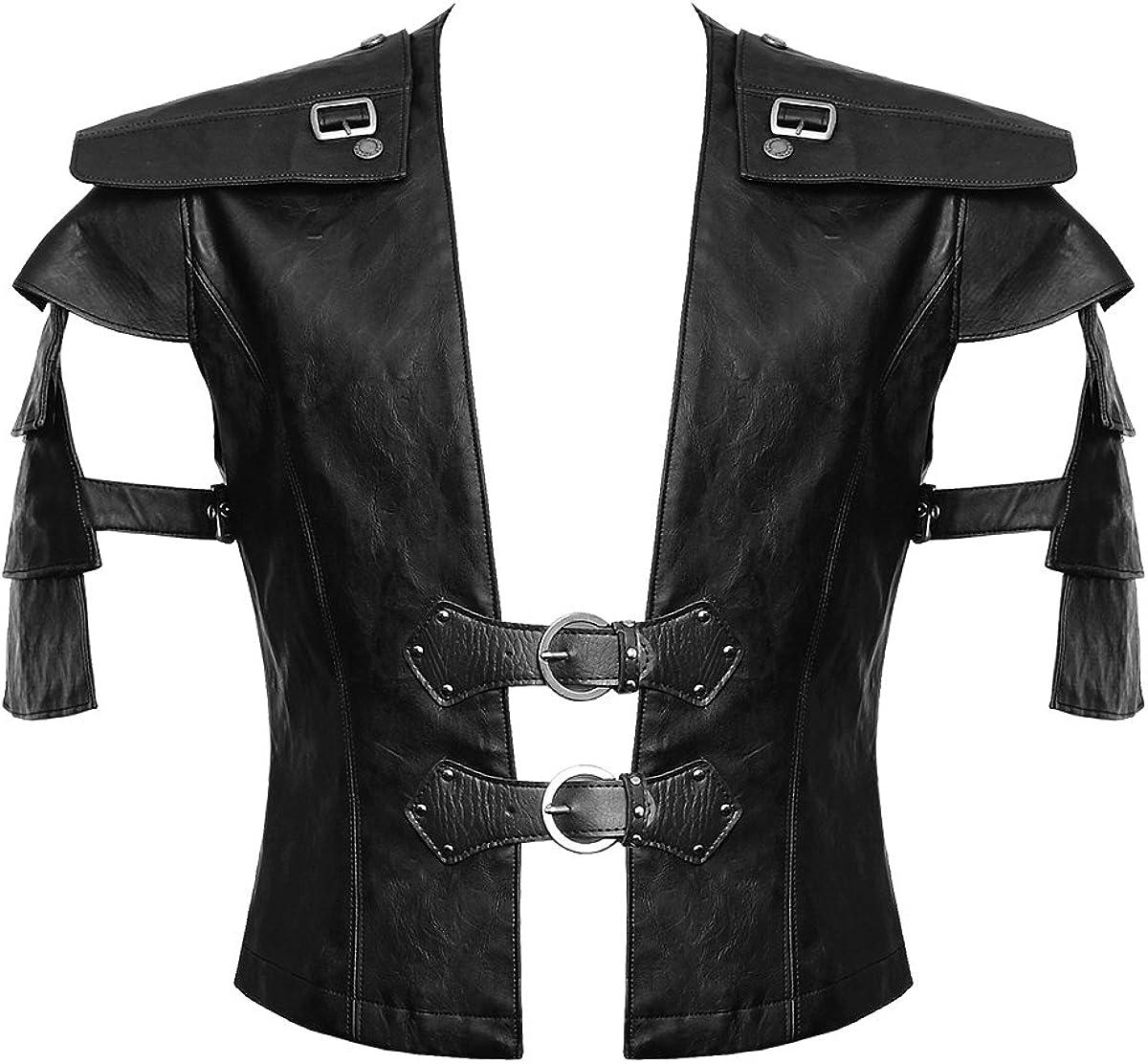 Punk Rave Mens Dieselpunk Waistcoat Vest Top Black Faux Leather Goth Punk Biker