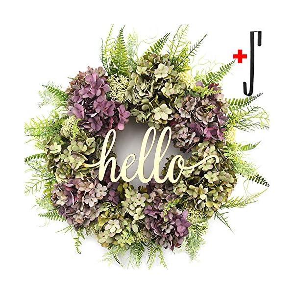 Hello Wreath for Front Door Handmade Hydrangea Wreath,letter wreaths for front door,Fall Wreath,farmhouse door wreaths,Grapevine Wreath,spring summer wreaths for front door,Everyday Wreath (20 inches)