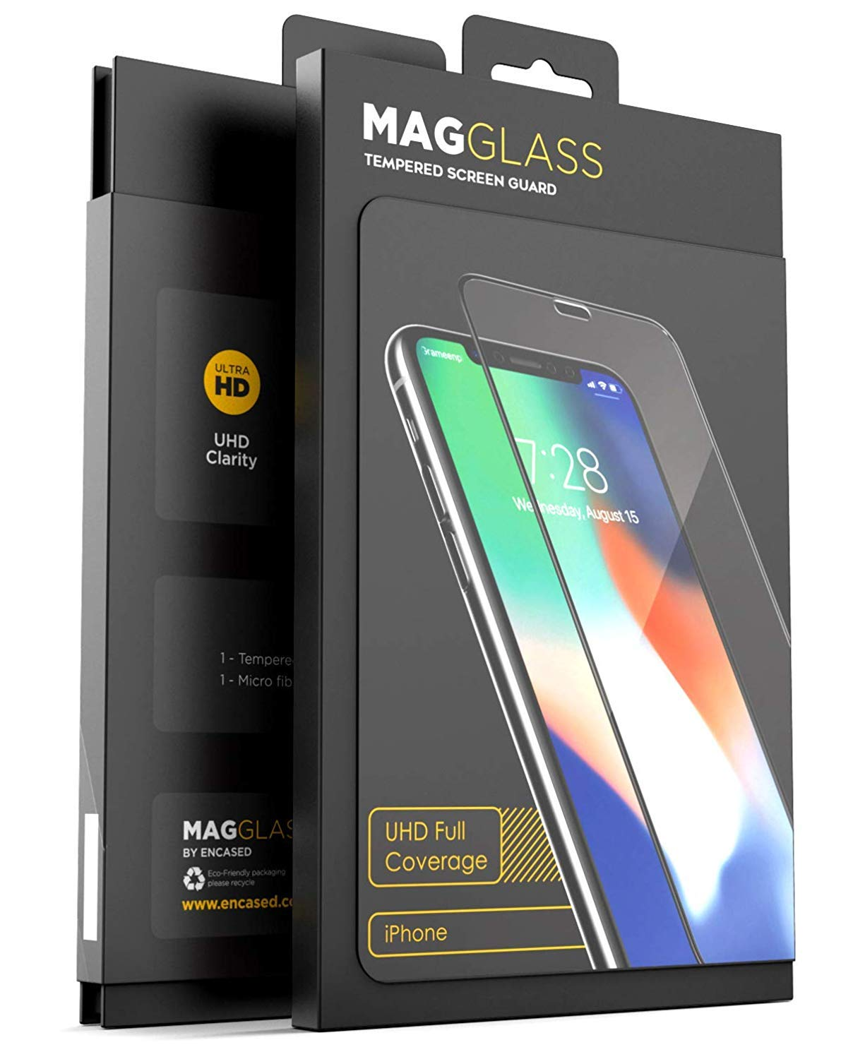 [Case Compatible] iPhone X Tempered Glass Screen Protector, MagGLASS XT90 Reinforced Screen Guard w/Pixel Grid Technology (Scratchproof/Shatterproof) (Includes Precision Applicator)