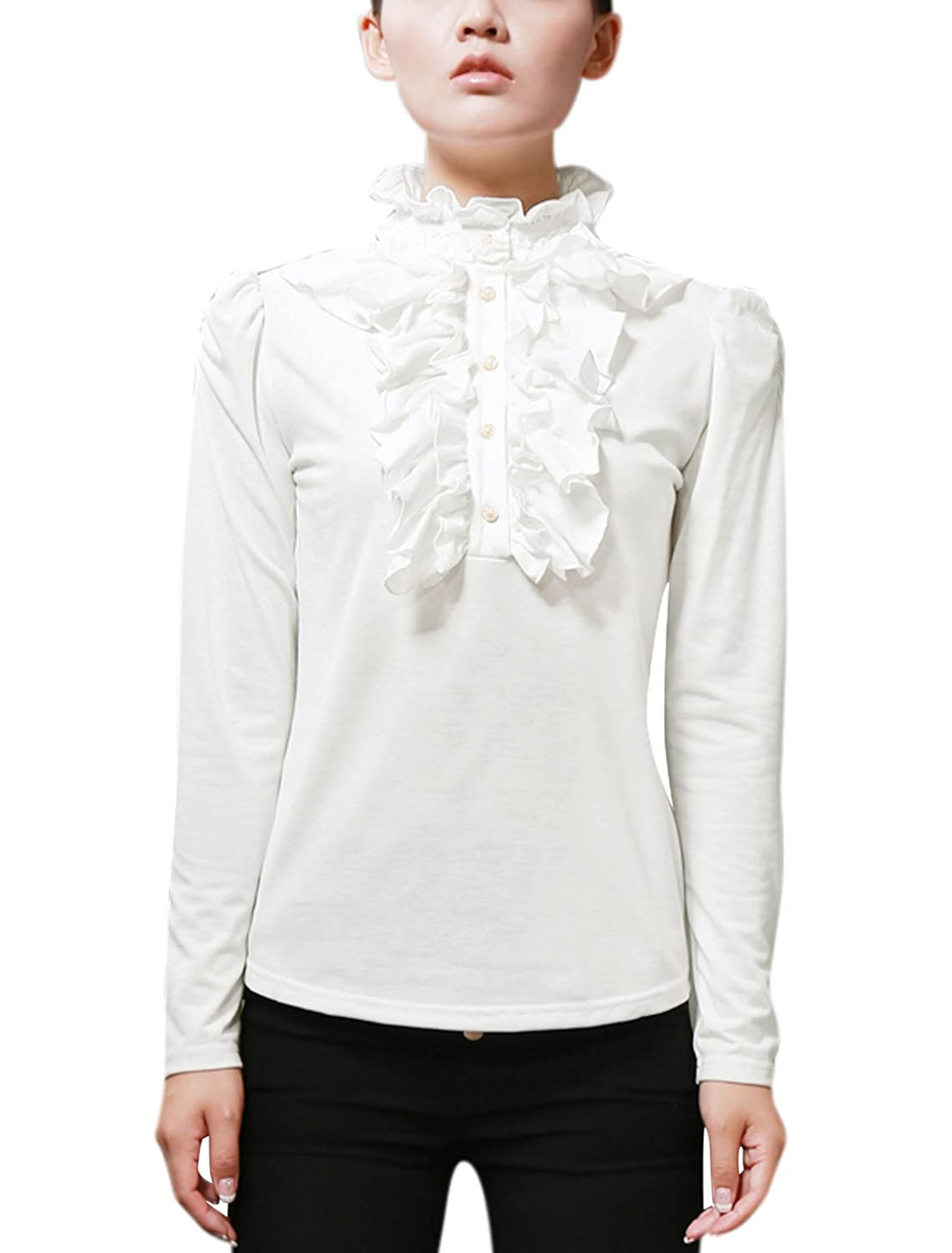 Edwardian Blouses, Ladies White & Black Lace Blouses Ruffle Neck Blouse Half Placket Stand Collar Puff Sleeve Shirts  AT vintagedancer.com
