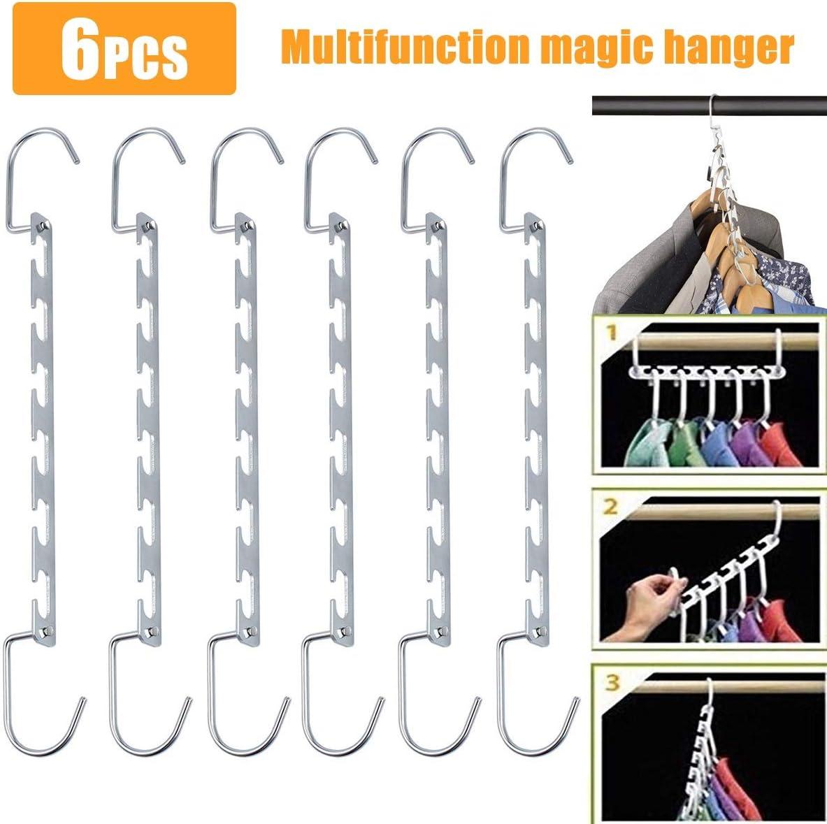 Colgador de Ropa Organizador M/últiples Funciones Metal Espacio Ahorro Armario Magic Hanger Rack