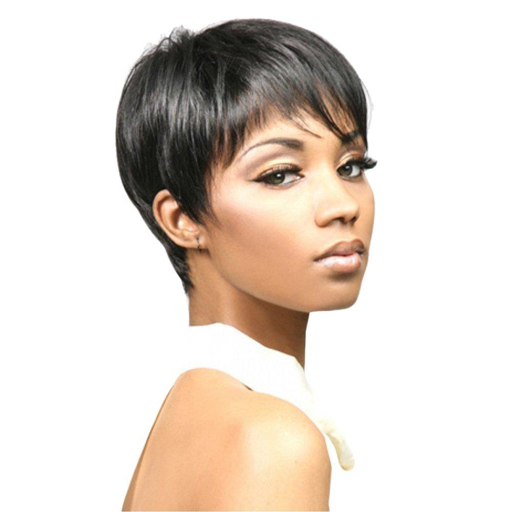 Hrph, parrucca alla moda da donna, con capelli lisci, taglio corto a caschetto con ciuffi, tinta unita naturale
