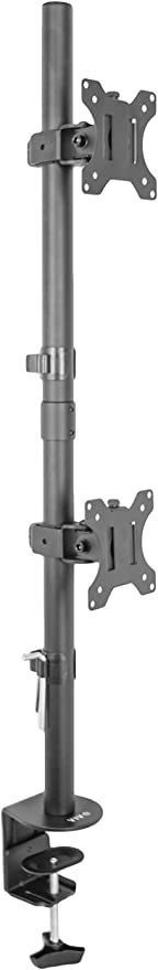 """VIVO Dual LCD Monitor Desk Mount Stand Heavy Duty Stacked, Holds Vertical 2 Screens up to 32"""" (STAND-V002T)"""