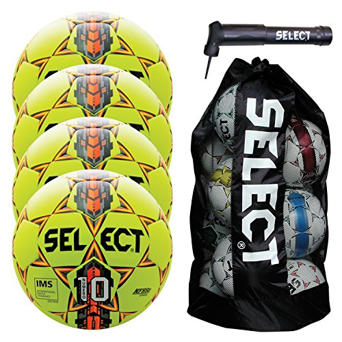 Select Numero 10 Soccer Ball with Duffle Ball Bag and Soccer Ball Hand Pump(Pack of 4), Yellow, Size 5 by Select