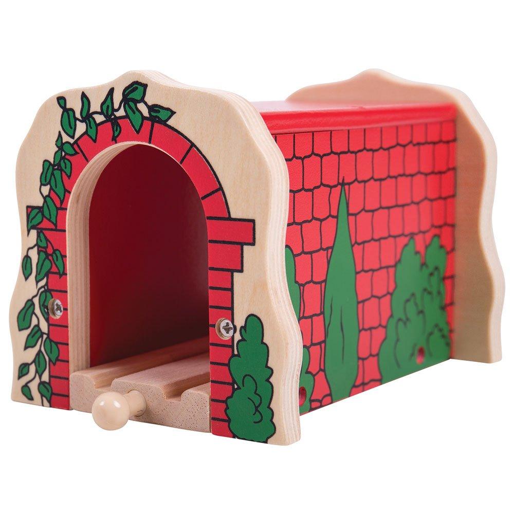 Bigjigs Túnel de ladrillo, color rojo (biBJT135) Trenes de Juguete Tunel de Ladrillo Rojo