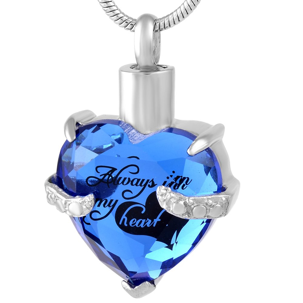 constantlife Crystal Heart Memorial Jewelry Stainless Steel Cremation Urn Pendant Necklace Constanlife Jewelry 9790