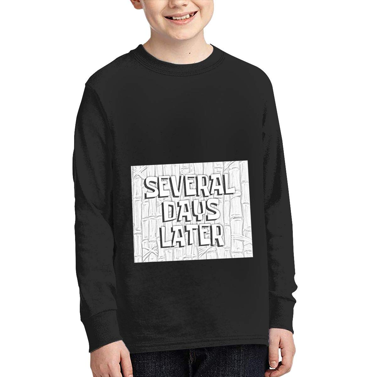 YOILLY Spongebob Time Passing Junior Long Sleeve T-Shirt Boys Long Sleeve Round Neck Graphic Tees Black