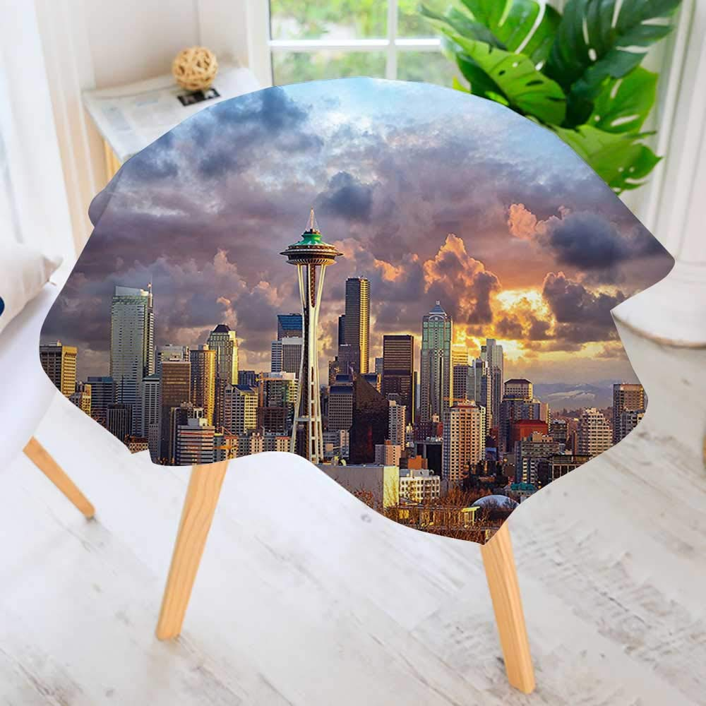 """UHOO2018 Round Tables in Washable Polyester-Collection Seattle Skyline at Sunset WA USA Sun Lights Through Dramatic Clouds Scene Tablecloth –Ideal for Home, Restaurants, Cafés 63"""" Round"""