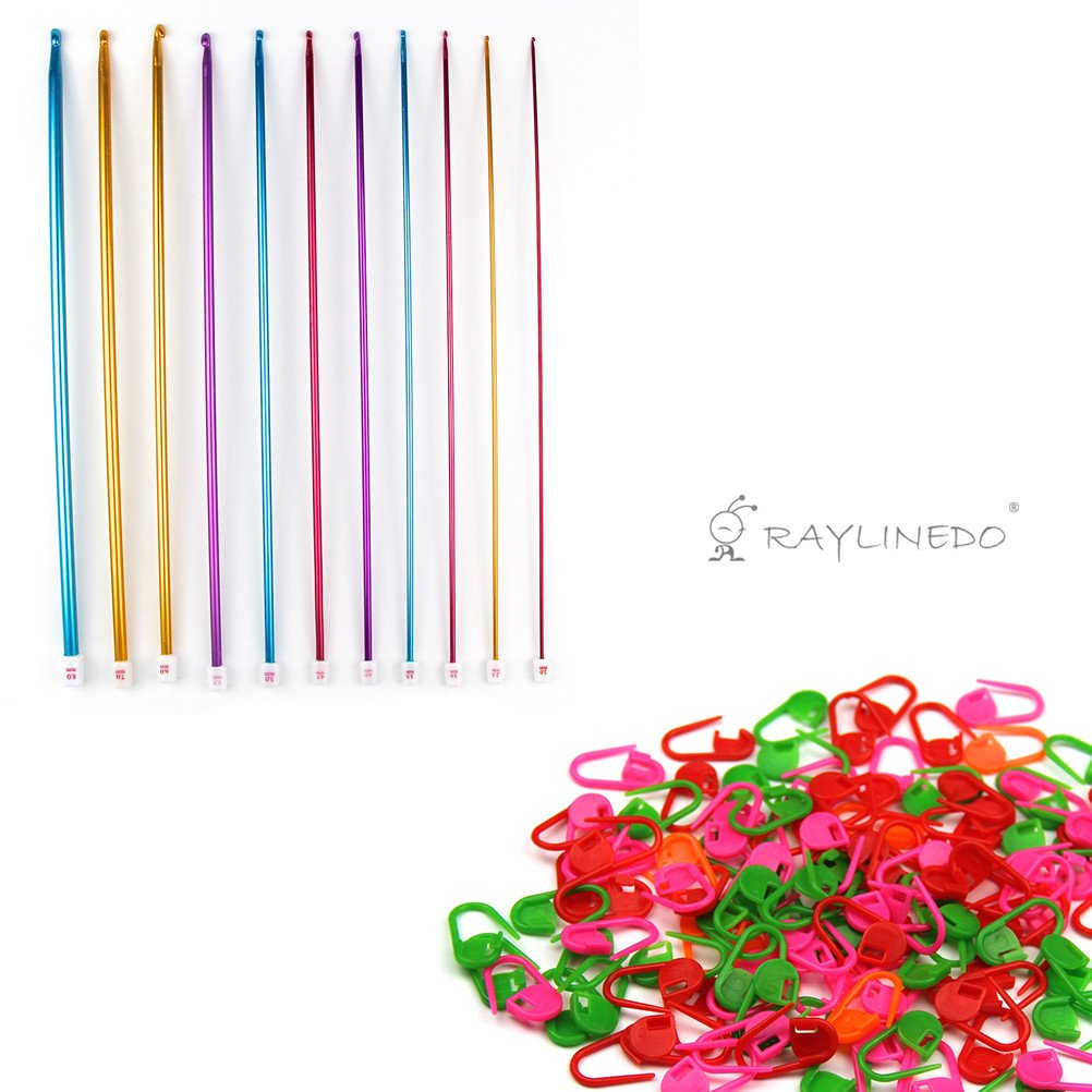 Raylinedo® 11pcs Multicolor Aluminio ganchillo agujas de punto tejido de punto (2.0mm-8.0mm) con 20piezas tejer ganchillo Locking Stitch Markers