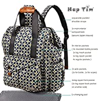 HapTim Multi-function Baby Diaper Bag Backpack W/ Stroller Straps- Insulated Pockets- Changing Pad Included, Nylon Fabric Waterproof for Moms & Dads (Gray+Gold 5279) from Hap Tim