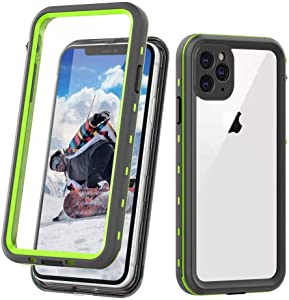 """TIPICOOL iPhone 11 Pro Waterproof Case, Built-in Screen Protector Heavy Duty Rugged Shockproof Dustproof IP68 Underwater Waterproof Case for iPhone 11 Pro 5.8""""(Clear+Green)"""