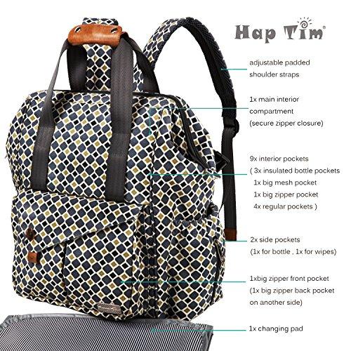 haptim multi function baby diaper bag backpack w stroller straps insulated. Black Bedroom Furniture Sets. Home Design Ideas