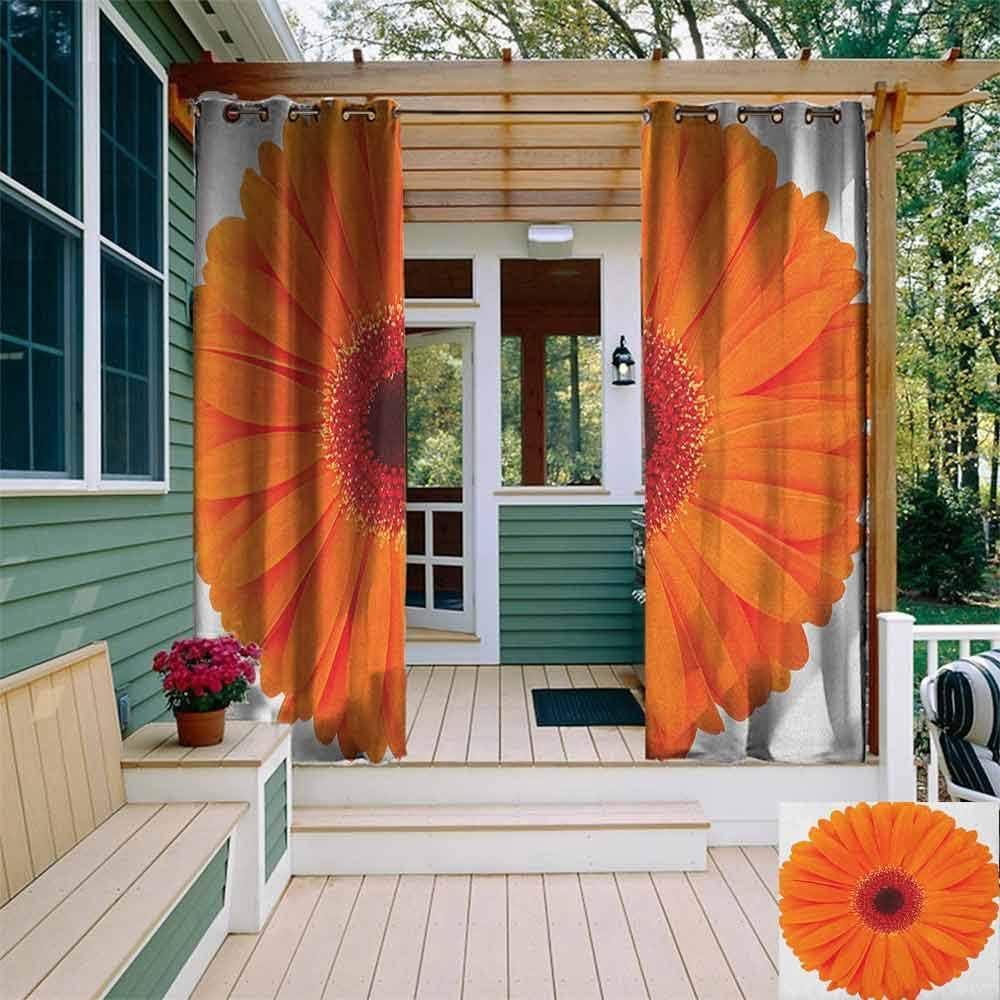 DONEECKL - Cortina de Exterior con diseño de Hojas de Hibisco, Color Naranja: Amazon.es: Jardín