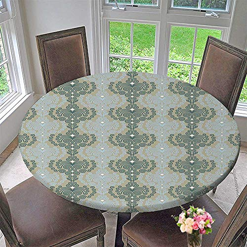 Mikihome Round Tablecloths Art Damask Decor Floral Ornament Background Wallpaper Pattern Print Blue and Taupe or Everyday Dinner, Parties 43.5