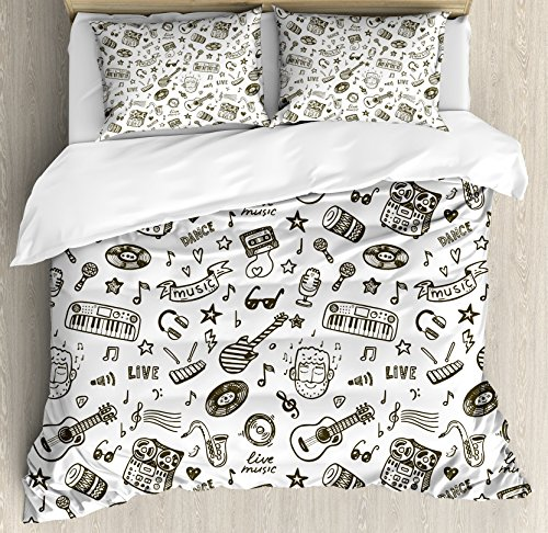 Doodle Duvet Cover Set Queen Size by Ambesonne, Hand Drawn Music Collection of Item Bearded Musician Guitar Recorder Mic, Decorative 3 Piece Bedding Set with 2 Pillow Shams, Olive Green White (Bedding Kids Inexpensive)
