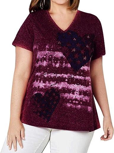 Camisa Fiesta Mujer de Tallas Grandes, Blusa con Estampado Estrella Casual de Casual Verano con Cuello en V T-Shirt Camiseta Suelto de Mangas Cortas Mujer Básicade Camiseta Playa y Fiesta: Amazon.es: Ropa