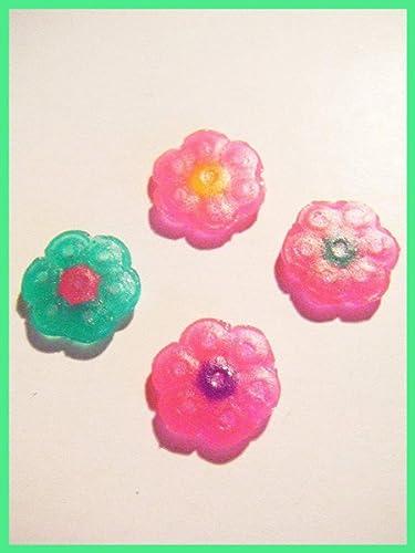 4 Petits Cabochons Fleurs Hama Pixel Art Kawaii Plastique