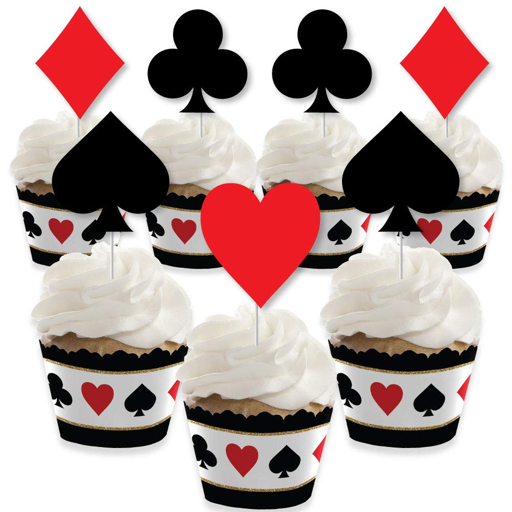 Las Vegas - Cupcake Decoration - Casino Party Cupcake Wrappers and Treat Picks Kit - Set of 24 by Big Dot of Happiness