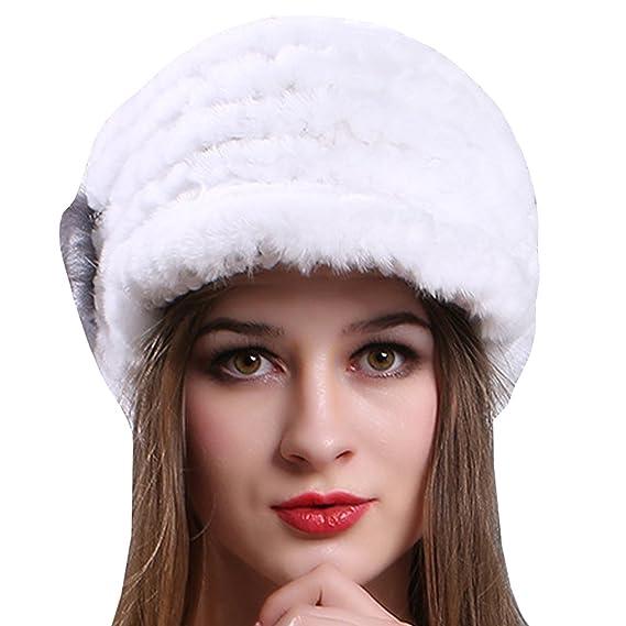 e4eeb5ea46aeb Ankoee Chapeau Casquette Femme Hiver Fausse Fourrure Chapkas Fille Bonnet  Chapeaux (Blanc)