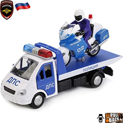 Tow Truck Gazelle with Motocycle Russian Police Toy Cars: Toys & Games