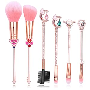 Sailor moon Makeup Brushes Cardcaptor Sakura Makeup outfit/Makeup Brush Momen Gift (Sailor moon update grade 6PCS)