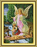 pattern maker for cross stitch - YEESAM ART New Cross Stitch Kits Advanced Patterns for Beginners Kids Adults - Angel Convoy 11 CT Stamped 79×103 cm - DIY Needlework Wedding Christmas Gifts