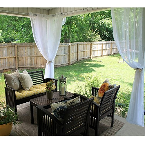 Outdoor Indoor Voile Drape Panels - RYB HOME Mildew Resistant Water Repelent Polyester Silver Grommet Sheer Curtains for Porch, 1 Piece with one Tieback Rope, W 54 x L 108 In, White