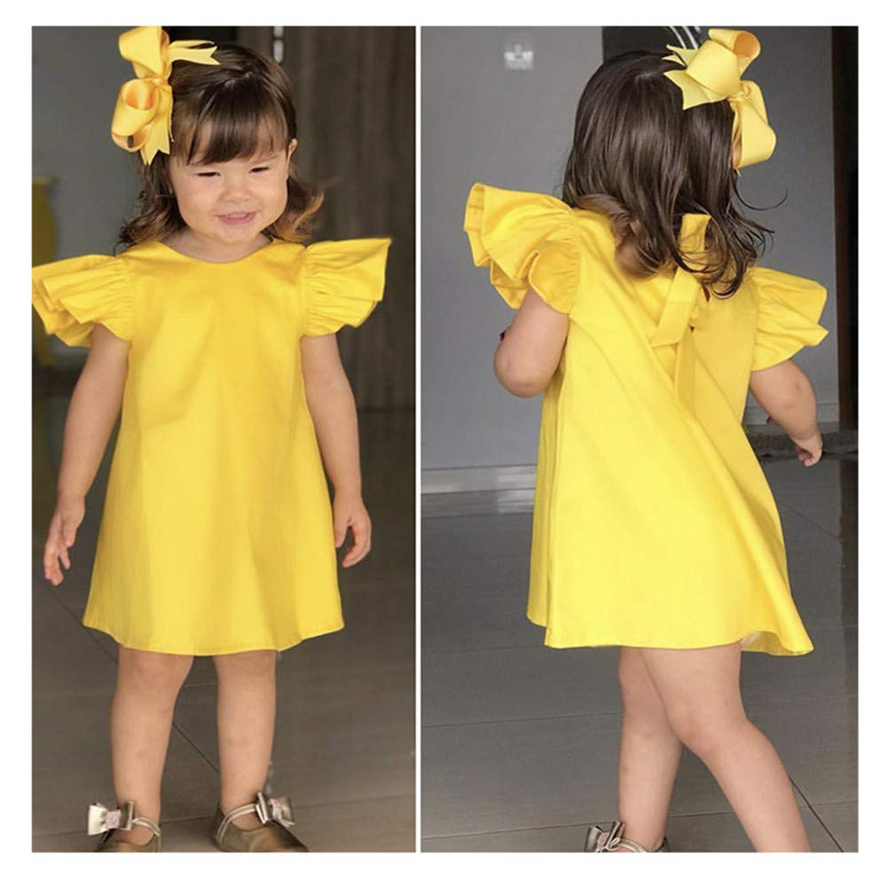 Zimuuy Baby Girls Fly Sleeve Solid Bow Dress Clothes Dresses Summer Infant Dress