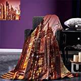 smallbeefly Cityscape Digital Printing Blanket Dubai at Night Cityscape with Tall Skyscrapers Panorama Picture Arabian Peninsula Summer Quilt Comforter Pink Gold